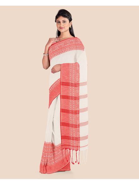 Cream Red Handwoven Khadi Cotton Begumpuri Mahapaar Saree with Blouse Piece-3