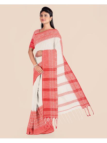 Cream Red Handwoven Khadi Cotton Begumpuri Mahapaar Saree with Blouse Piece-2