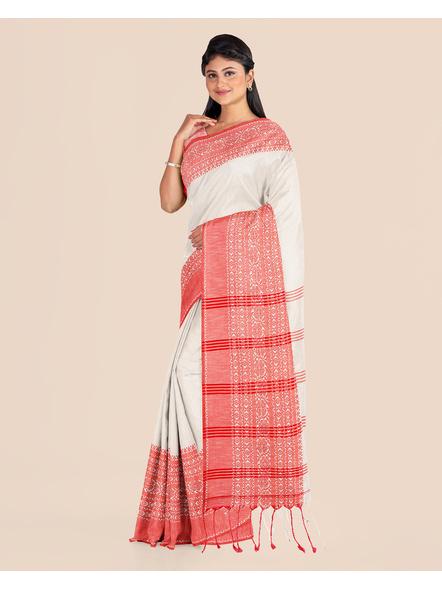 Cream Red Handwoven Khadi Cotton Begumpuri Mahapaar Saree with Blouse Piece-4