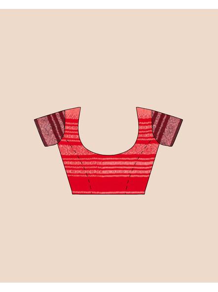 Handwoven Pure Khadi BegumPuri Ganga Jamuna Mahapaar Saree with Blouse Piece (Cream Red & Black)-5
