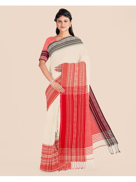 Handwoven Pure Khadi BegumPuri Ganga Jamuna Mahapaar Saree with Blouse Piece (Cream Red & Black)-LAAHKBSWBP001
