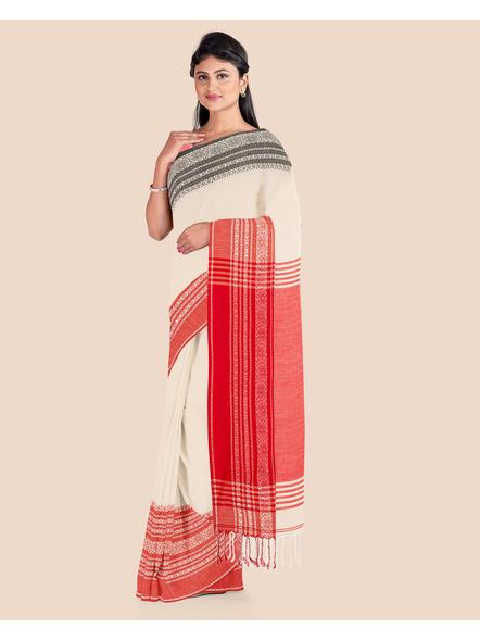Handwoven Pure Khadi BegumPuri Ganga Jamuna Mahapaar Saree with Blouse Piece (Cream Red & Black)-3