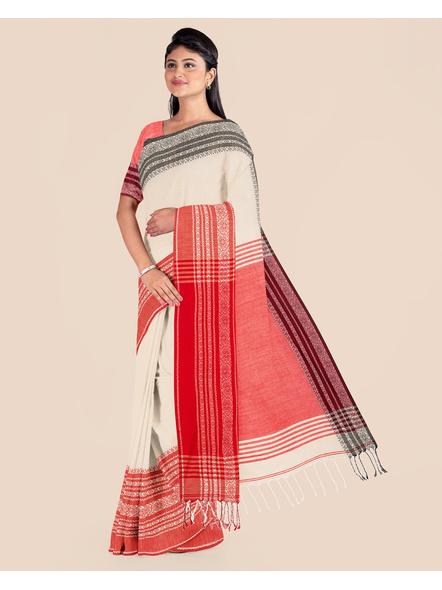 Handwoven Pure Khadi BegumPuri Ganga Jamuna Mahapaar Saree with Blouse Piece (Cream Red & Black)-2