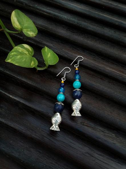 Handmade Semi Precious Fish Earring Design 1-1
