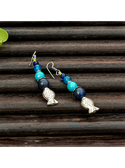 Handmade Semi Precious Fish Earring Design 1-LAAER444