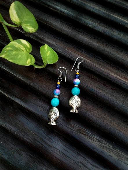 Handmade Semi Precious Fish Earring Design 2-1
