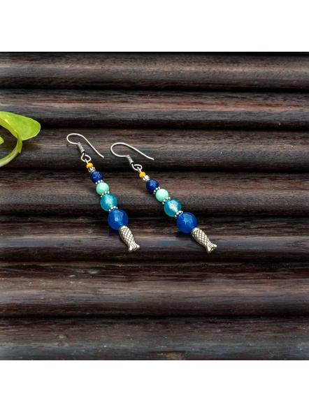 Handmade Semi Precious Fish Earring Design 3-LAAER446