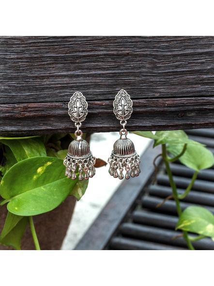 Handmade Designer German Silver Leaf Stud Jhumka Earring-LAAER451