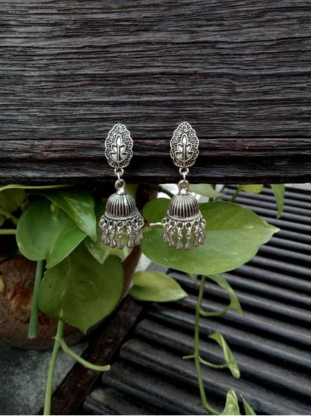 Handmade Designer German Silver Leaf Stud Jhumka Earring-1