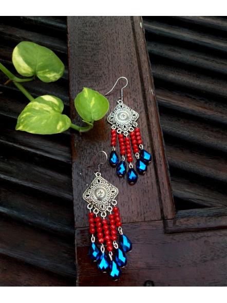 Designer German Silver Rhombus Red Blue Drop Crystal Dangler Earring-LAAER454
