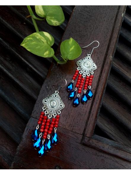 Designer German Silver Rhombus Red Blue Drop Crystal Dangler Earring-1