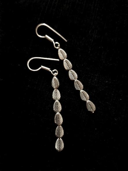 Handmade Designer German Silver Multiple Leaf Dangler Earring-LAAER455