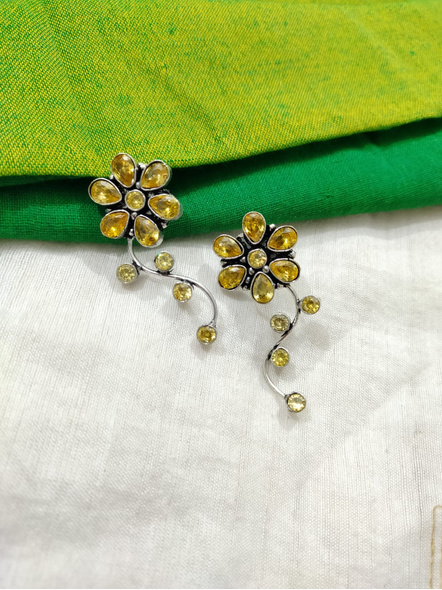Designer German Silver Yellow Cubic Zirconia Floral Stud Earring-1