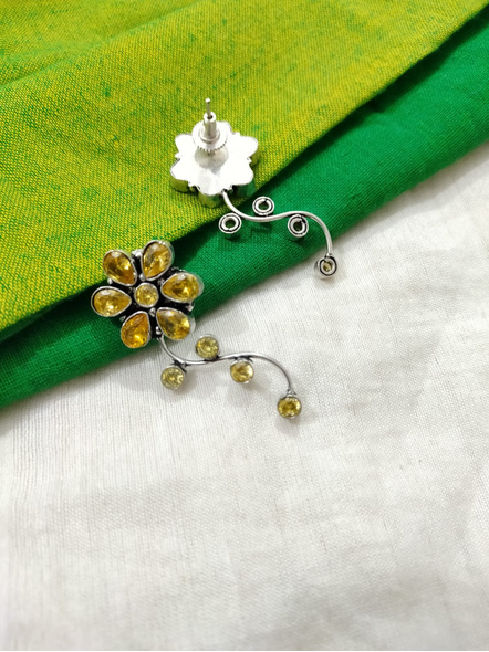 Designer German Silver Yellow Cubic Zirconia Floral Stud Earring-2