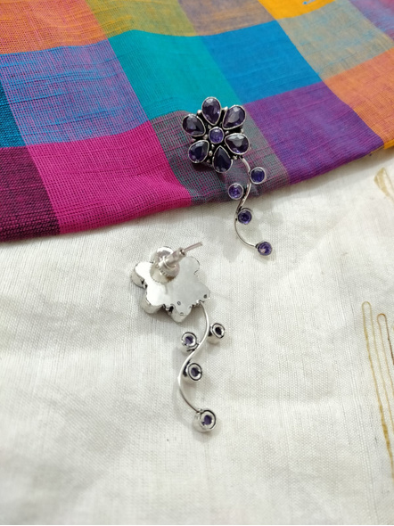 Designer German Silver Amethyst Floral Stud Earring-2