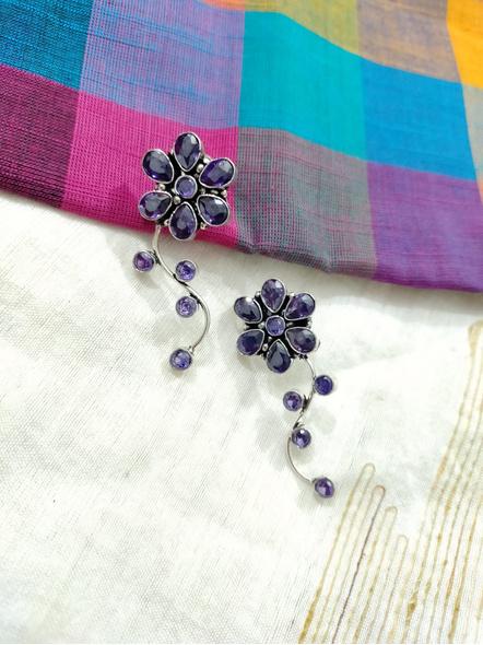 Designer German Silver Amethyst Floral Stud Earring-LAAER457