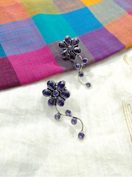 Designer German Silver Amethyst Floral Stud Earring-1
