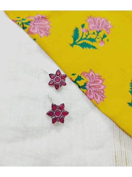 Designer German Silver Pink Floral Hook Earring-1