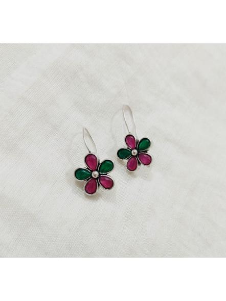 Designer Cute Pink Green Stone Studded Hook Earring-LAAER459
