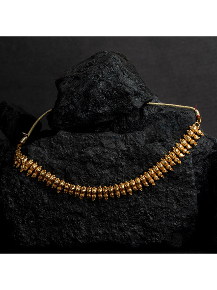 1.5g Gold Polished Paisley Choker Necklace-Gold-Copper-Adult-Female-23CM-1