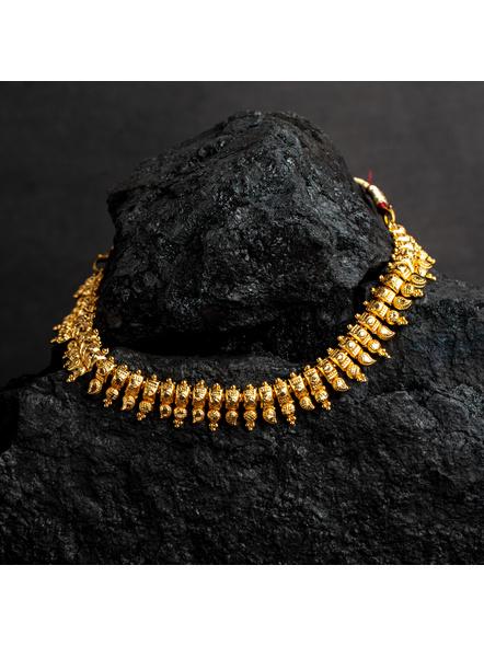 1.5g Gold Polished Paisley Choker Necklace-LAAGP15NLS24