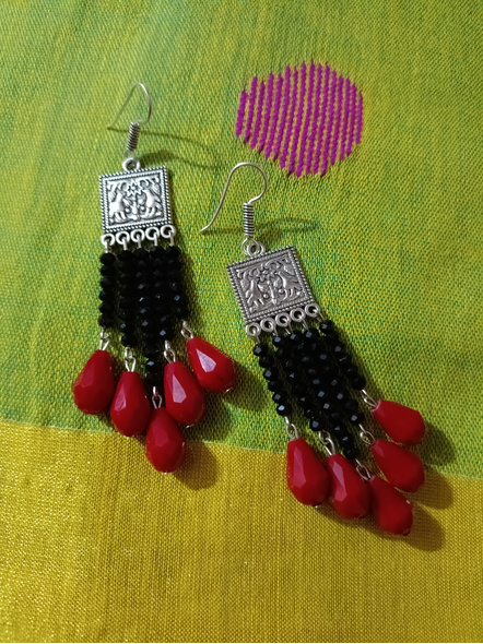 Handmade Designer German Silver Square Black Red Drop Crystal Dangler Earring-1