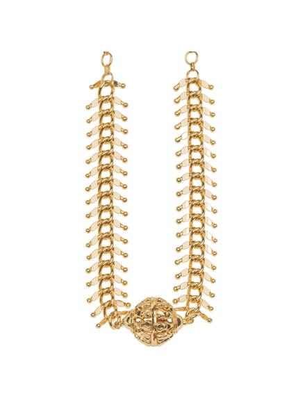 1.5g Gold Polished Fish Bone Focal Ball Neckpiece-Gold-Copper-Adult-Female-37.5cm-1