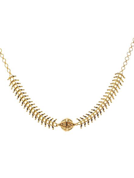 1.5g Gold Polished Fish Bone Focal Ball Neckpiece-LAAGP15NLS25