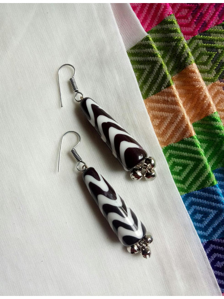 Beautiful Black & White Zigzag Popsicle  Earring with Ghungroo-1