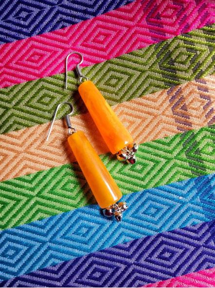 Beautiful Orange Popsicle  Earring with Ghungroo-LAAER464