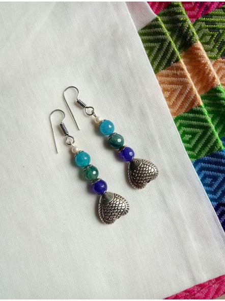 Designer Handmade Semi Precious Fish Earring-1