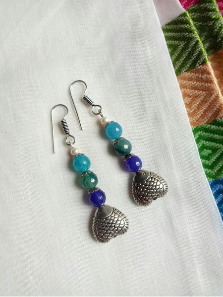 Designer Handmade Semi Precious Fish Earring-LAAER465
