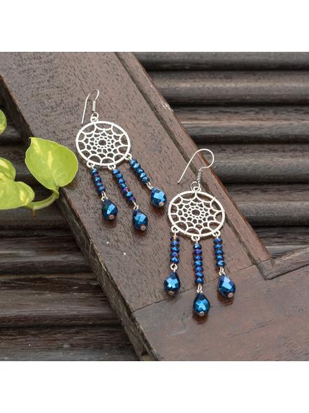 Designer Handmade German Silver Blue Crystal Drop Dreamcatcher Earring-Blue-Crystal-Adult-Female-9.5cm-1