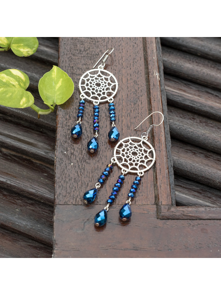 Designer Handmade German Silver Blue Crystal Drop Dreamcatcher Earring-LAAER453