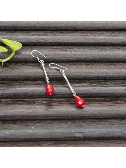 Handmade Designer German Silver Pipe Red Drop Crystal Dangler Earring-Silver-German Silver-Adult-Female-7.5cm-1