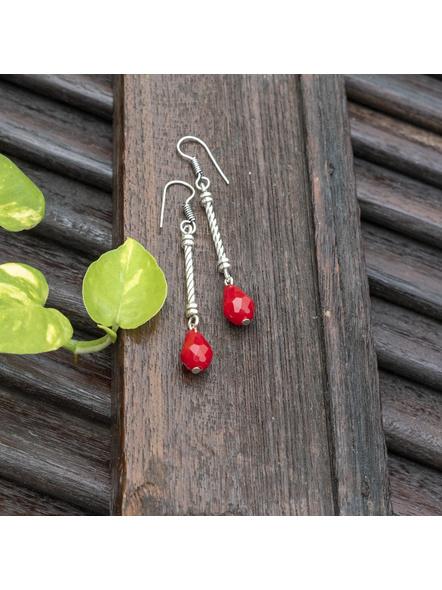 Handmade Designer German Silver Pipe Red Drop Crystal Dangler Earring-Silver-German Silver-Adult-Female-7.5cm-2