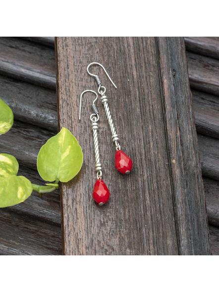 Handmade Designer German Silver Pipe Red Drop Crystal Dangler Earring-LAAER450
