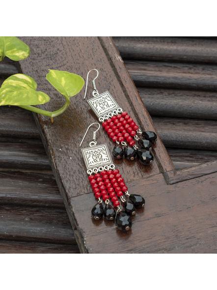 Designer German Silver Square Red Black Drop Crystal Dangler Earring-Red-Crystal-Adult-Female-9cm-1