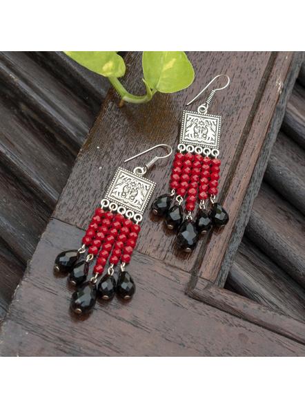 Designer German Silver Square Red Black Drop Crystal Dangler Earring-LAAER452