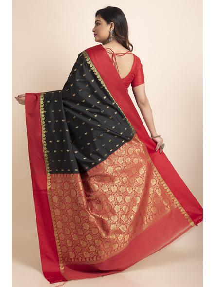 Black with Red Border Garad Kanchipuram Style Golden Zari Work Silk Blend Saree with Blouse Piece-Black-Art Silk-Free-Female-Adult-1