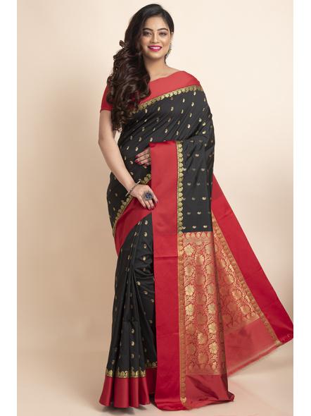 Black with Red Border Garad Kanchipuram Style Golden Zari Work Silk Blend Saree with Blouse Piece-LAAGKASWBP01