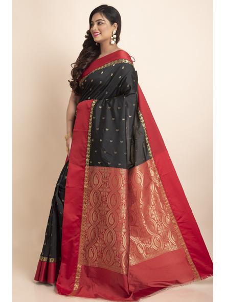Black with Red Border Garad Kanchipuram Style Golden Zari Work Silk Blend Saree with Blouse Piece-Black-Art Silk-Free-Female-Adult-2