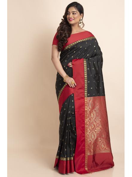 Black with Red Border Garad Kanchipuram Style Golden Zari Work Silk Blend Saree with Blouse Piece-Black-Art Silk-Free-Female-Adult-4