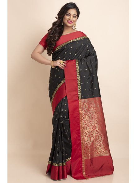 Black with Red Border Garad Kanchipuram Style Golden Zari Work Silk Blend Saree with Blouse Piece-Black-Art Silk-Free-Female-Adult-3