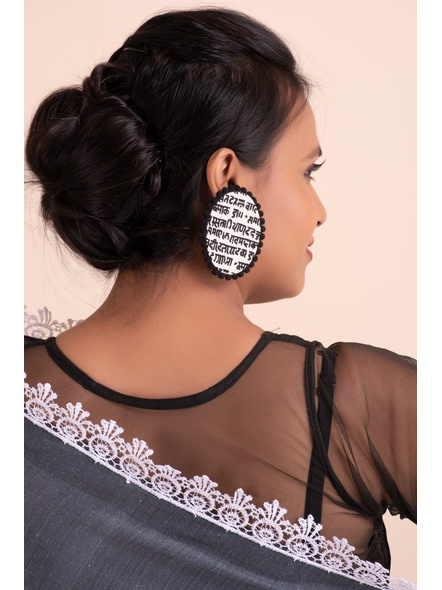 Handmade Designer Black and White Scripted Oval Stud with Black lace Border-1