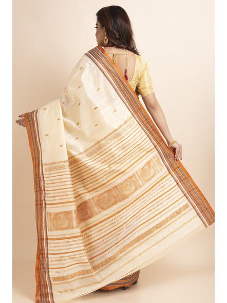 Cream Orange Handwoven Garad Pure Silk Saree with Blouse Piece-Cream-Pure Silk-Free-Female-Adult-1