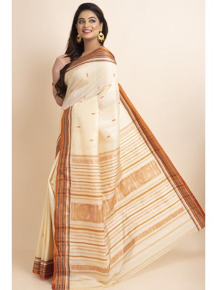 Cream Orange Handwoven Garad Pure Silk Saree with Blouse Piece-Cream-Pure Silk-Free-Female-Adult-2