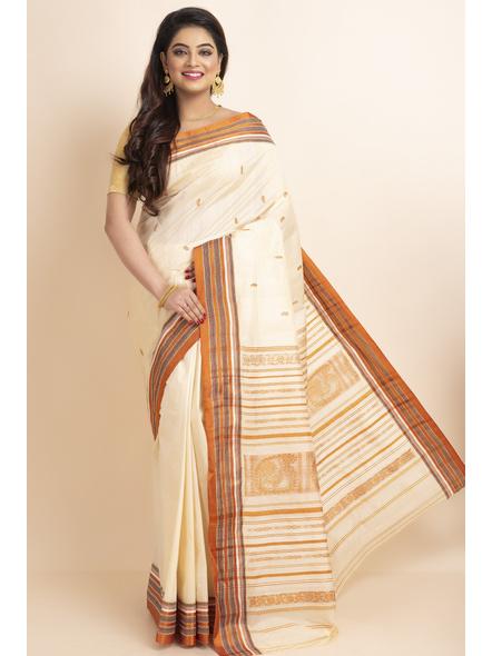 Cream Orange Handwoven Garad Pure Silk Saree with Blouse Piece-Cream-Pure Silk-Free-Female-Adult-3