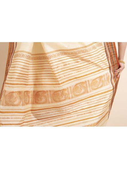 Cream Orange Handwoven Garad Pure Silk Saree with Blouse Piece-Cream-Pure Silk-Free-Female-Adult-4