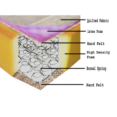 OMEGA BONNEL MATRESSES LATEX PLAZA BONNEL RANGE WITH HEIGHT 6 INCH-78*66*6-2